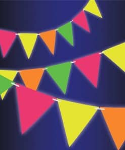 Glow in the Dark Neon Paper Pennant Banner