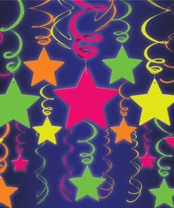 Neon Stars and Swirls Hanging Decorations