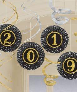 New Year's Eve 2019 Fan & Swirl Decorations