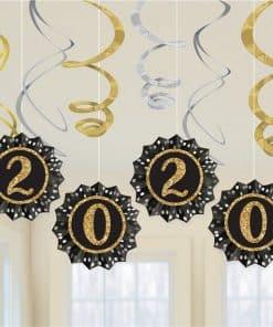 New Year's Eve 2020 Fan & Swirl Decorations