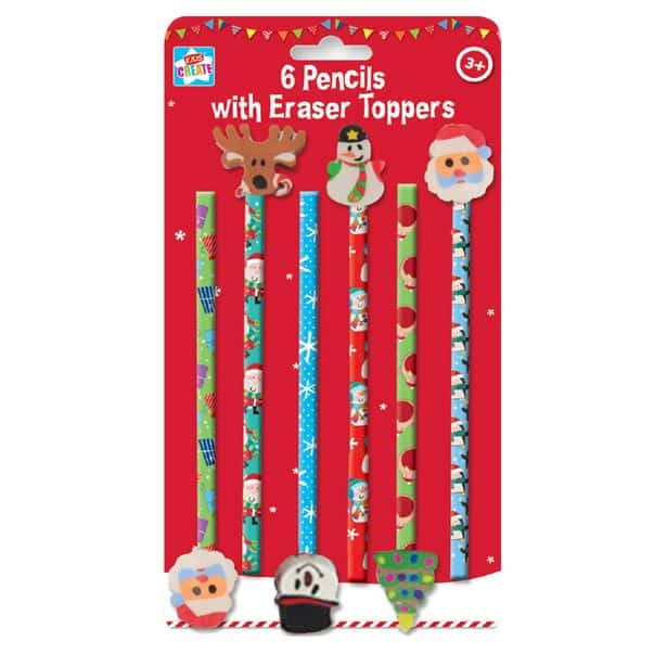CHILDRENS PENCILS WITH ERASER TOPS CHRISTMAS THEME PARTY BAG FILLERS