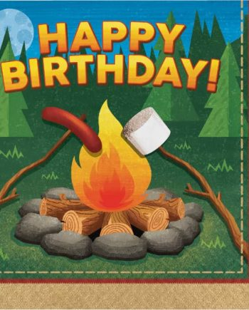 Camp Out Party Paper Happy Birthday Napkins