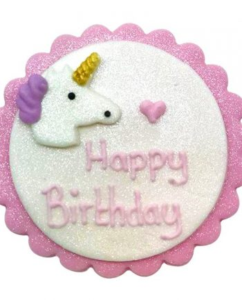 Shimmering Unicorn Sugar Plaque Cake Decoration