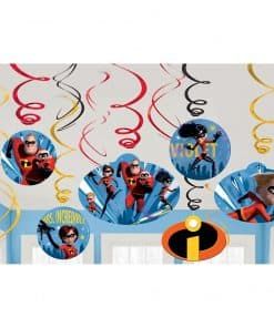 The Incredibles 2 Party Swirl Decorations