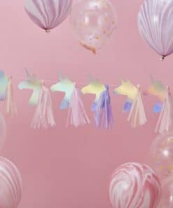 Make A Wish Unicorn Party Iridescent Unicorn Shaped Tassel Bunting