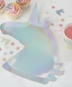 Unicorn Wishes Party Iridescent Shaped Unicorn Party Plates