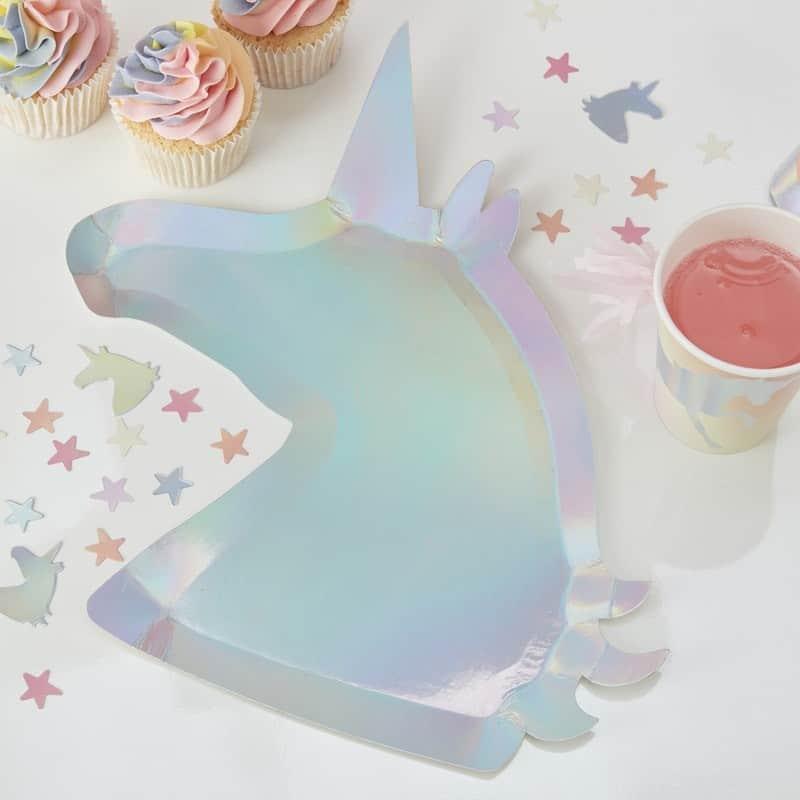 Unicorn Wishes Party Iridescent Shaped Unicorn Party Plates & Make A Wish Unicorn Party Iridescent Shaped Paper Plates