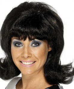 Black 60's Flick Up Adult Wig