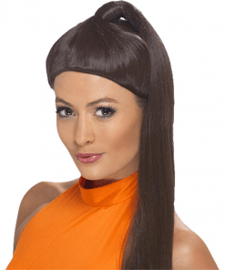90's Sporty Power Brown Adult Wig