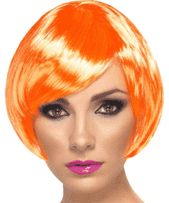 Babe Bob Adult Fire Coral Wig