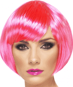Babe Bob Adult Neon Pink Wig