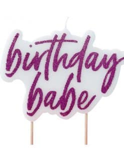 Good Vibes Party Hot Pink Glitter 'Birthday Babe' Candle