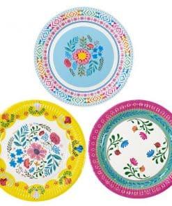 Boho Party Floral Paper Plates