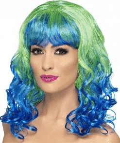 Divatastic Curly Green & Blue Adult Wig