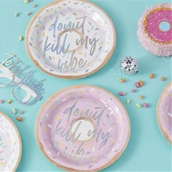 "Good Vibes Party Iridescent ""Donut Kill My Vibe"" Paper Plates"