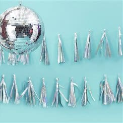 Good Vibes Party Iridescent Sparkle Tassel Garland