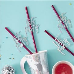 Good Vibes Party Hot Pink 'Let's Party' Straws