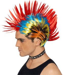 Mohawk Street Punk Adult Rainbow Wig