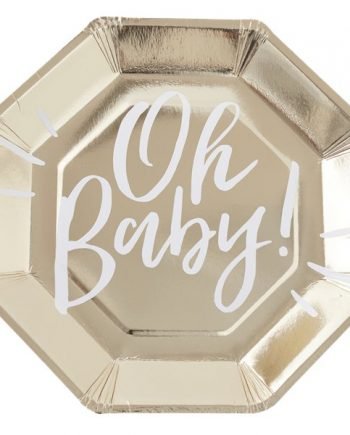 'Oh Baby!' Gold Foiled Paper Plate