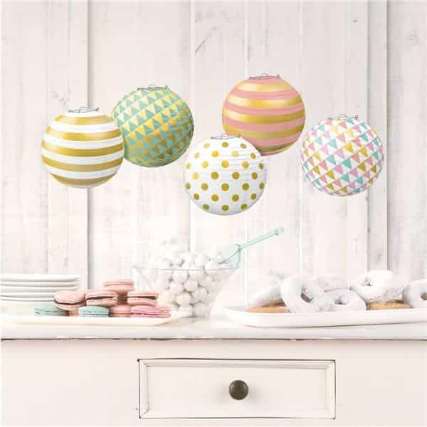 Pastel & Metallic Mini Paper Lanterns - Next Day Delivery