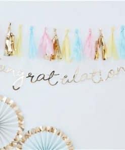 Pick & Mix Pastel Gold 'Congratulations' Banner