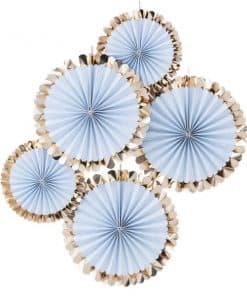 Pick & Mix Pastel Gold Foiled Blue Fan Decorations