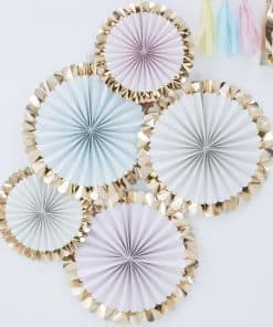 Pick & Mix Pastel Gold Foiled Pastel Fan Decorations