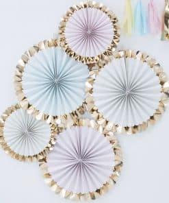Pick & Mix Pastel Gold Foiled Pastel Fan Decorations