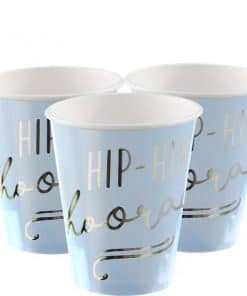 Pick & Mix Pastel 'Hip Hip Hooray' Blue Paper Cups