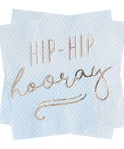 Pick & Mix Pastel 'Hip Hip Hooray' Blue Paper Napkins