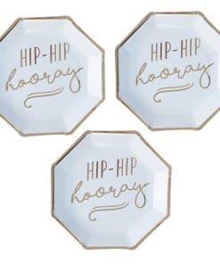 Pick & Mix Pastel 'Hip Hip Hooray' Blue Paper Plates