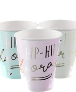 Pick & Mix Pastel 'Hip Hip Hooray' Pastel Paper Cups