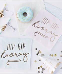 Pick & Mix Pastel 'Hip Hip Hooray' Pastel Paper Napkins