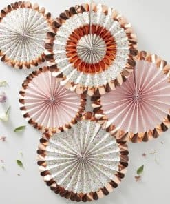Ditsy Floral Rose Gold Foiled Floral Fan Decorations