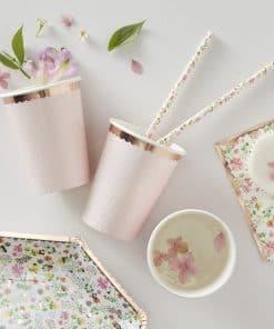 Ditsy Floral Rose Rose Gold Polka Dot Cups