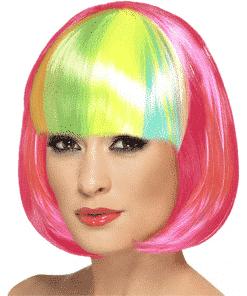 Rainbow Fringe Neon Pink Bob Adult Wig