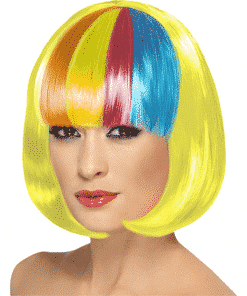 Rainbow Fringe Yellow Bob Adult Wig