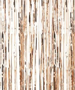 Rose Gold Metallic Fringed Door Curtain