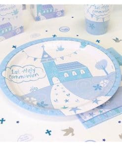 First Holy Communion Party Blue Plates