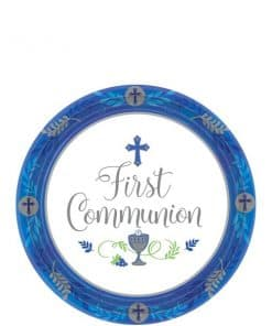 First Communion Blue Paper Dessert Plates