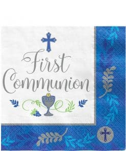 First Communion Blue Paper Napkins