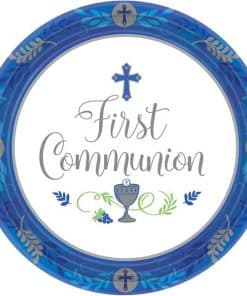 First Communion Blue Paper Plates