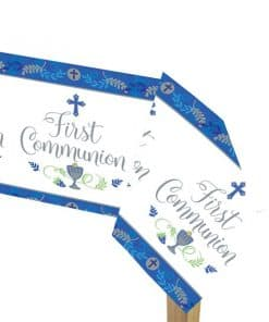 First Communion Blue Plastic Tablecover