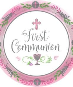 First Communion Pink Paper Plates