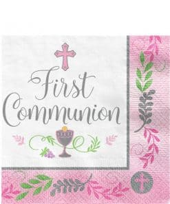First Communion Pink Paper Napkins