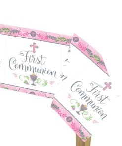 First Communion Pink Plastic Tablecover