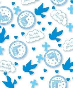 First Holy Communion Party Blue Blue Confetti