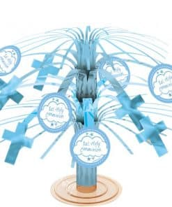 First Holy Communion Party Blue Mini Cascade Centerpiece