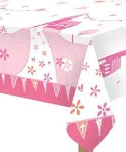 First Holy Communion Pink Party Plastic Tablecover