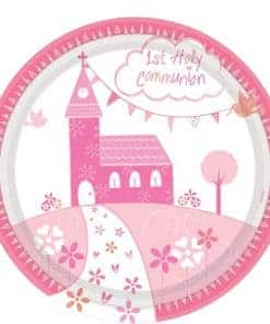 First Holy Communion Pink Party Plates